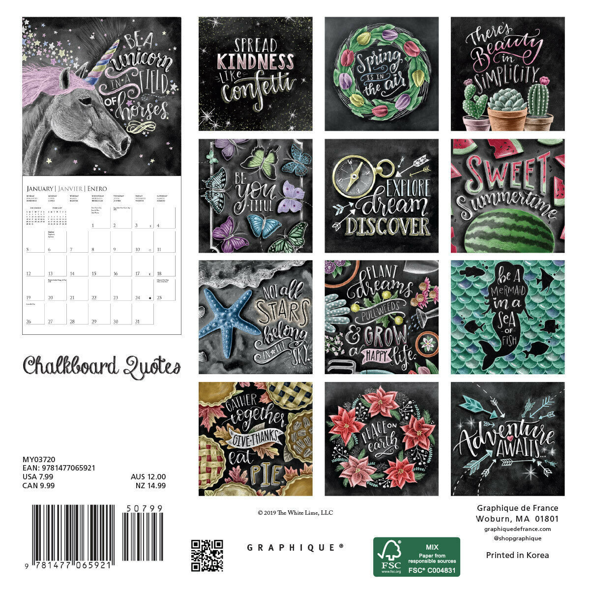 Chalkboard 2020 Mini Wall Calendar image