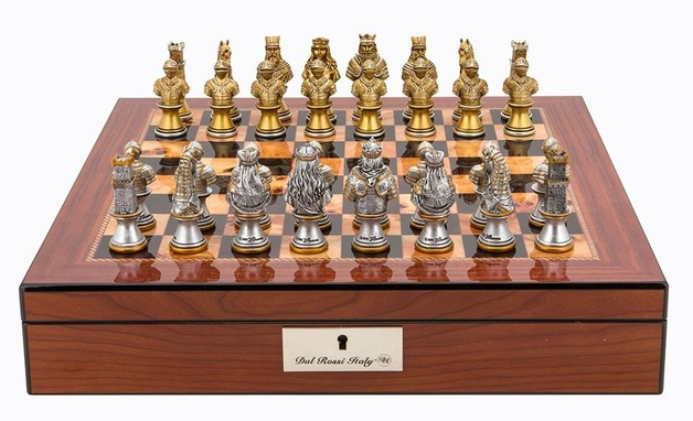 "Dal Rossi: Resin Medieval Warriors - 16"" Chess Set (Walnut Finish)"