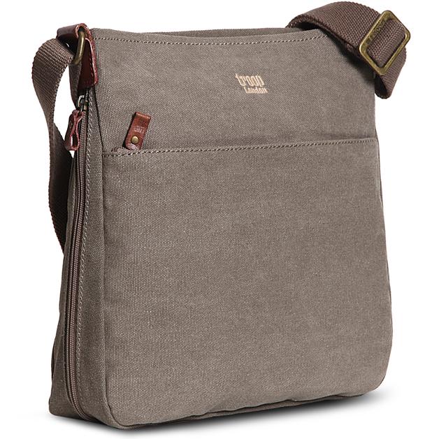 Troop London: Classic Zip Top Shoulder Bag - Brown