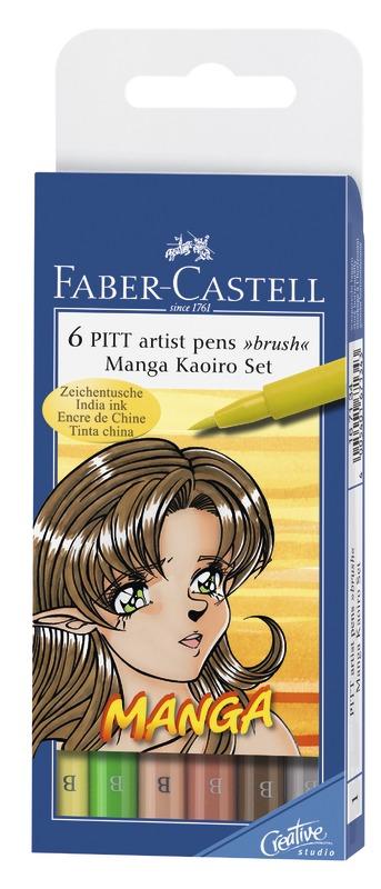 Faber-Castell: Pitt Artist Pens B Manga Kaoiro (Set of 6)
