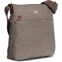 Troop London: Classic Zip Top Shoulder Bag - Brown