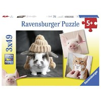 Ravensburger : Funny Animal Portraits Puzzle 3x49pc
