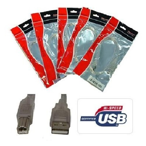 8Ware: USB 2.0 Certified Cable A-B Transparent Metal Sheath UL Approved - 3m