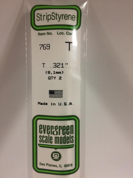 Evergreen Styrene T 35cm 8.1 X 8.1 X 2.7 mm