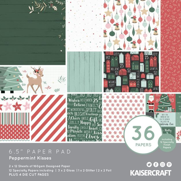 "Kaisercraft: Paper Pad 6.5"" x 6.5"" - Peppermint Kisses"