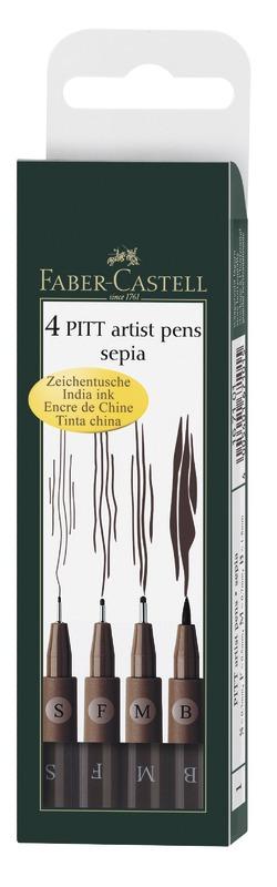 Faber-Castell: Pitt Artist Pens Sepia (Wallet of 4)