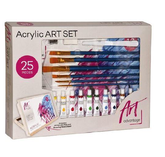 Art Advantage: Acrylic Paint with Drawing Board Easel Set (25pc)