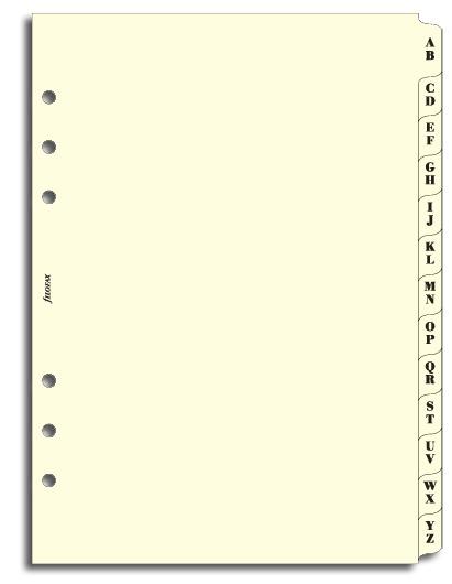 Filofax A5 - A - Z Index Cream, 2 Letters/Tab