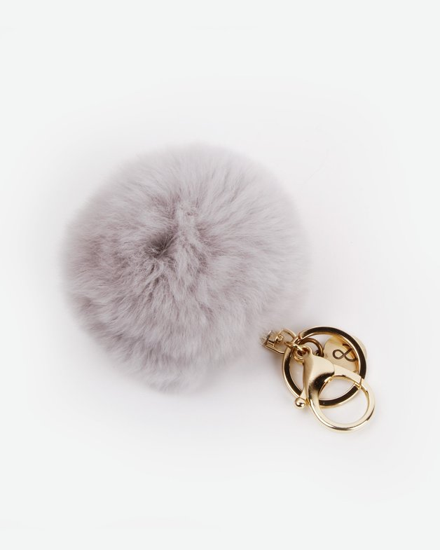 Belle and Bloom: Faux Fur Pom Pom Keychain - Grey
