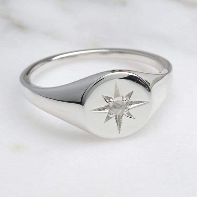 Midsummer Star: Enchanted Light Moonstone Signet Ring (Size 7)