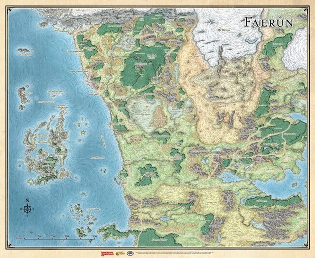 "Dungeons & Dragons Sword Coast Adventurer's Guide - Faerun Map (27"" x 32"")"