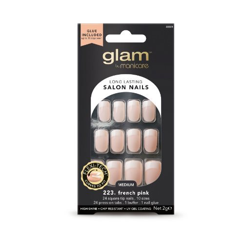 Glam by Manicare - French Pink Medium Square Glue-On Nails (2g)