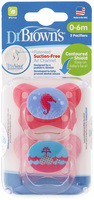 Dr. Brown's Stage 1 Dummie - 0-6 months - Pink (2 Pack)