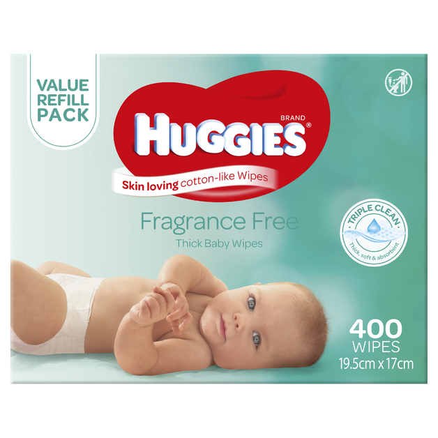 Huggies: Baby Wipes Fragrance Free - Mega Pack (400)