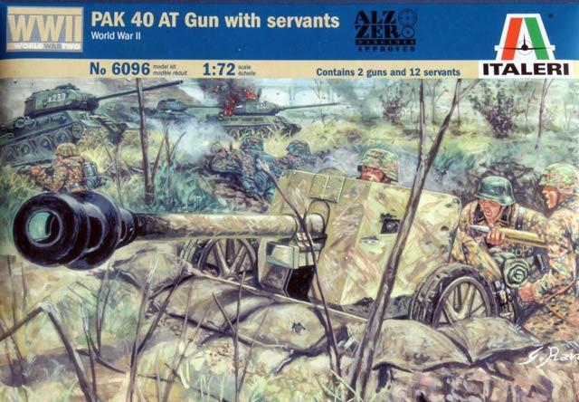 Italeri German PAK 40 AT Gun with Servants (WWII) 1:72 Model Kit image