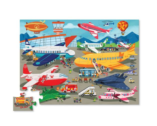 Crocodile Creek: Canister Floor Puzzle - Busy Airport (50pc)