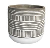 Two Stripe Concrete Pot