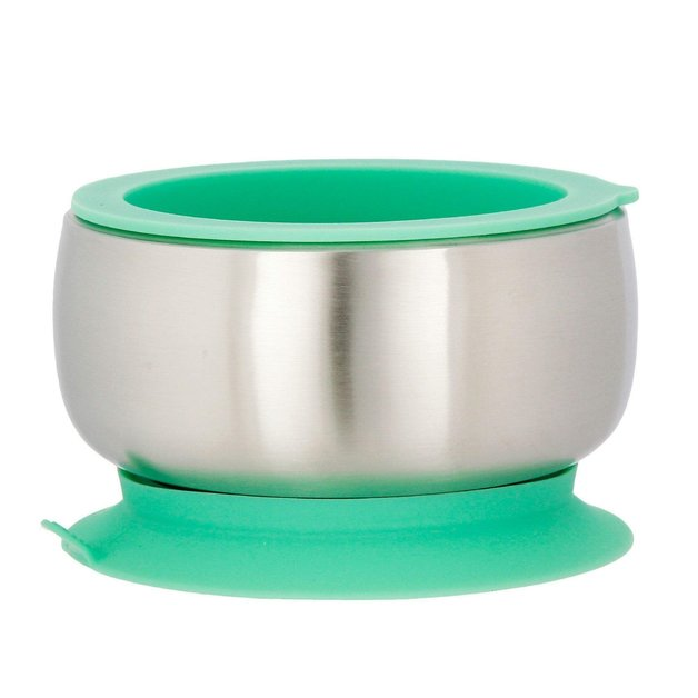 Avanchy Baby Stainless Steel Stay Put Suction Bowl - Green