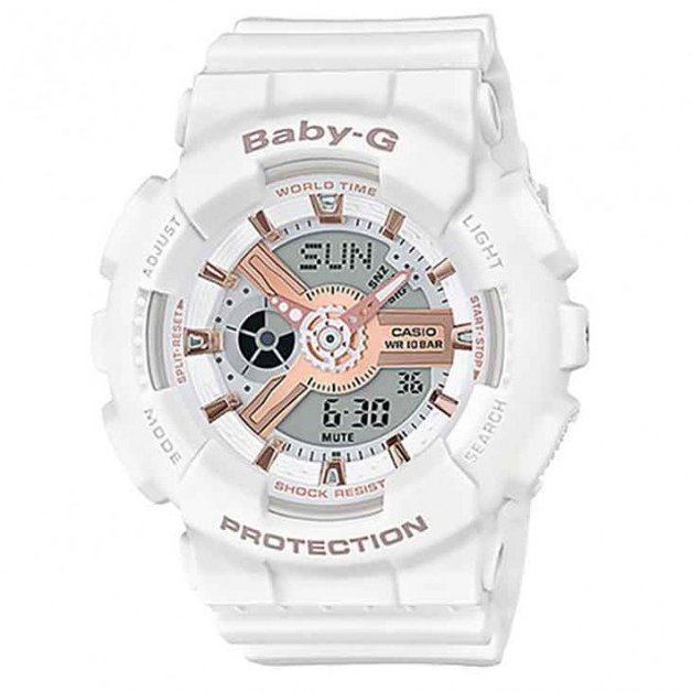 Casio BABY-G Pink Gold Watch BA110RG-7A - White/Rose