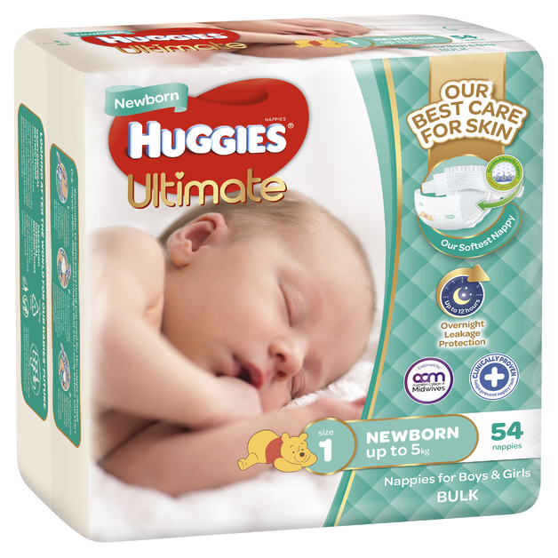 Huggies Ultimate Nappies Bulk - Size 1 Newborn (54)