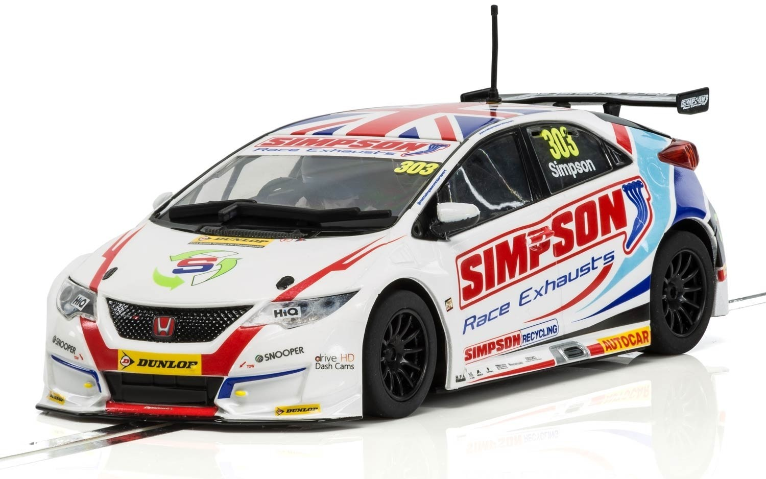 Scalextric: Honda Civic Type R NGTC – BTCC 2017 Matt Simpson Slot Car image