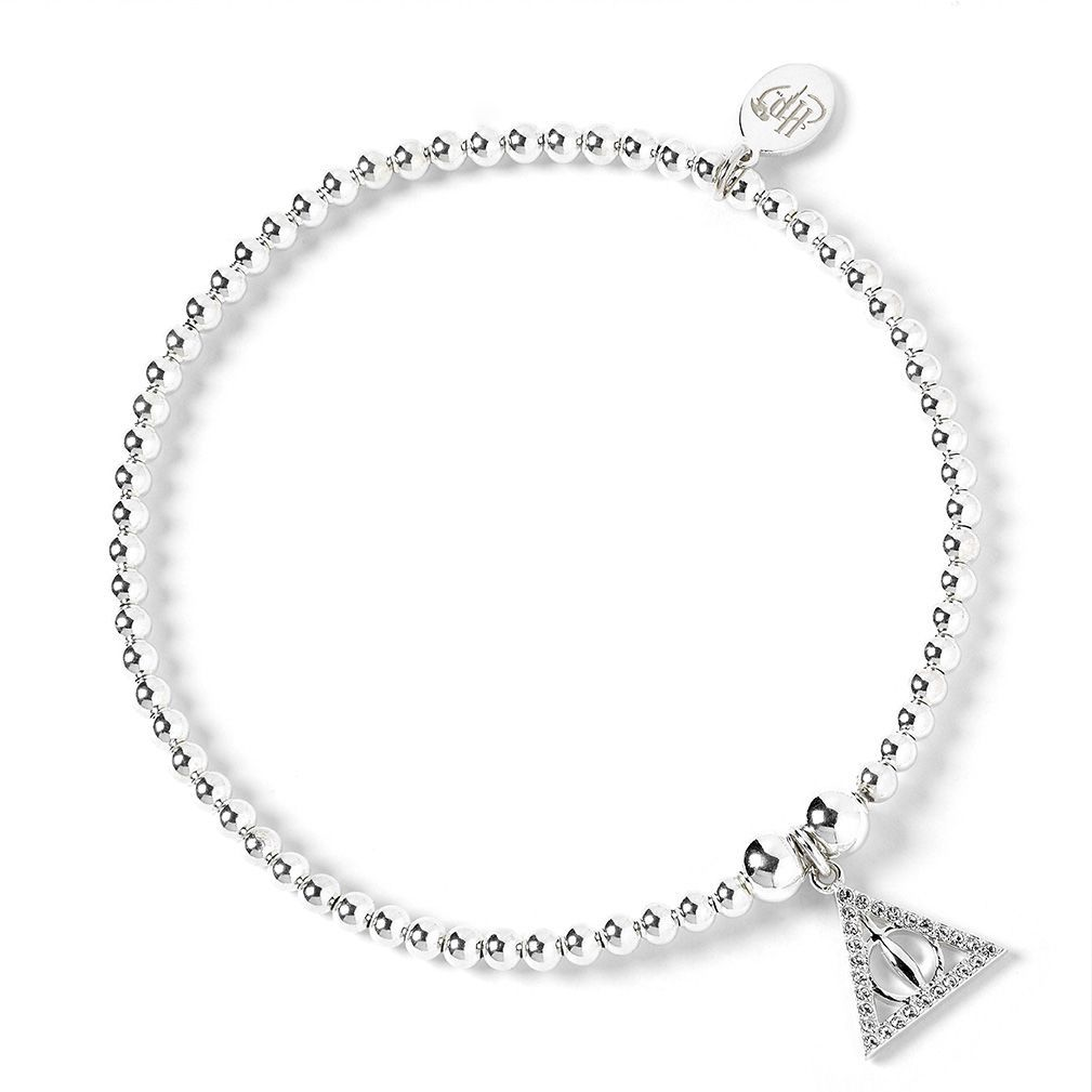 The Carat Shop: Sterling Silver Deathly Hallows Charm on Ball Bead Bracelet Embellished with Swarovski Crystals image