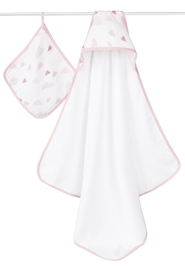 Aden + Anais: Muslin-Backed Hooded Towel Set - Heartbreaker image