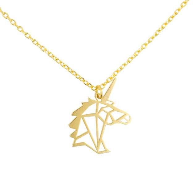 Short Story: Unicorn Stencil Necklace - Gold