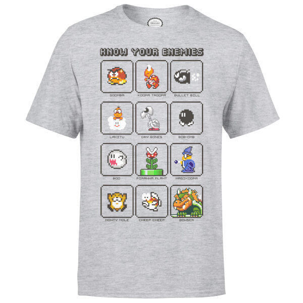 Nintendo Super Mario Know Your Enemies Kids' T-Shirt - Grey - 5-6 Years