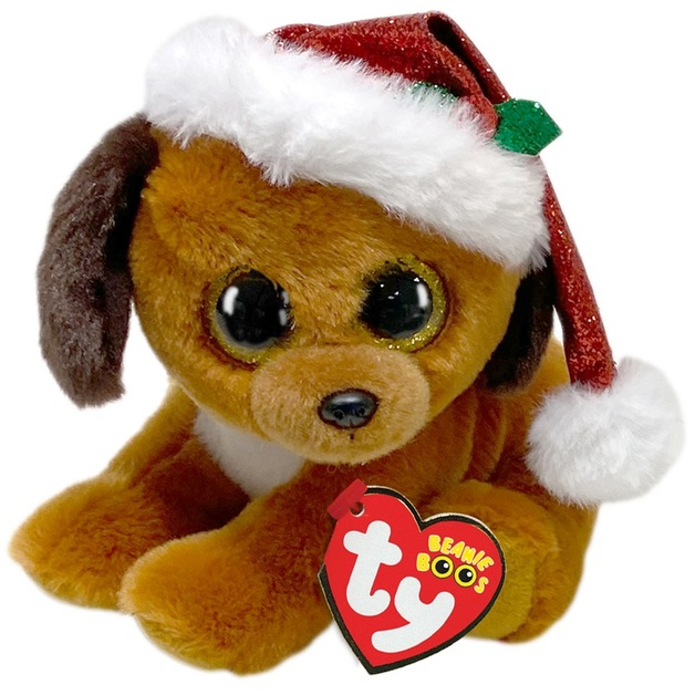 Ty Beanie Boo: Dog With Christmas Hat - Small Plush