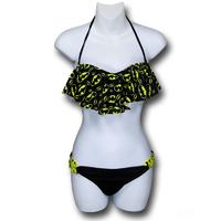 Batgirl Ruffle Bandeau Bikini with Loop Bottom (Small)
