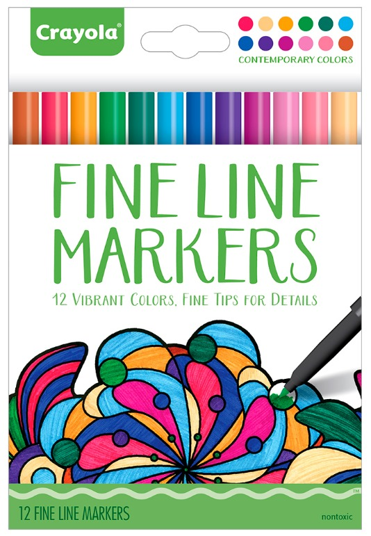 Crayola Colour Escapes: Contemporary Fine Line Markers - 12 Pack image