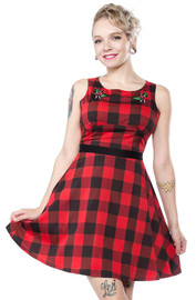 Sourpuss Flower Buffalo Plaid Dress (Size Large)