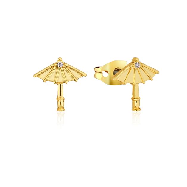 Couture Kingdom: Disney Mulan Umbrella Stud Earrings Yellow Gold