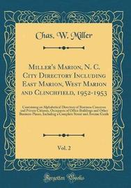 Miller's Marion, N. C. City Directory Including East Marion, West Marion and Clinchfield, 1952-1953, Vol. 2 by Chas W Miller image