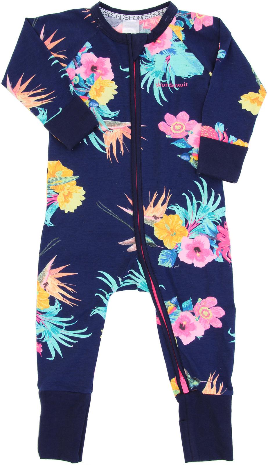 Bonds Zip Wondersuit Long Sleeve - Coolangatta Kids Deep Arctic - 6-12 Months image