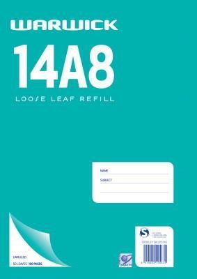 Warwick 14A8 50lf Unruled Loose Leaf Refill