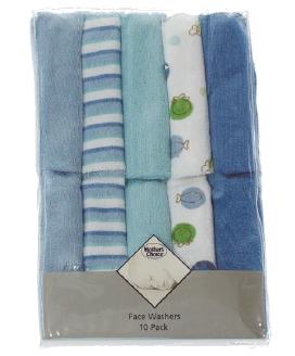 Mother's Choice 10 Pack Face Washers - Boys