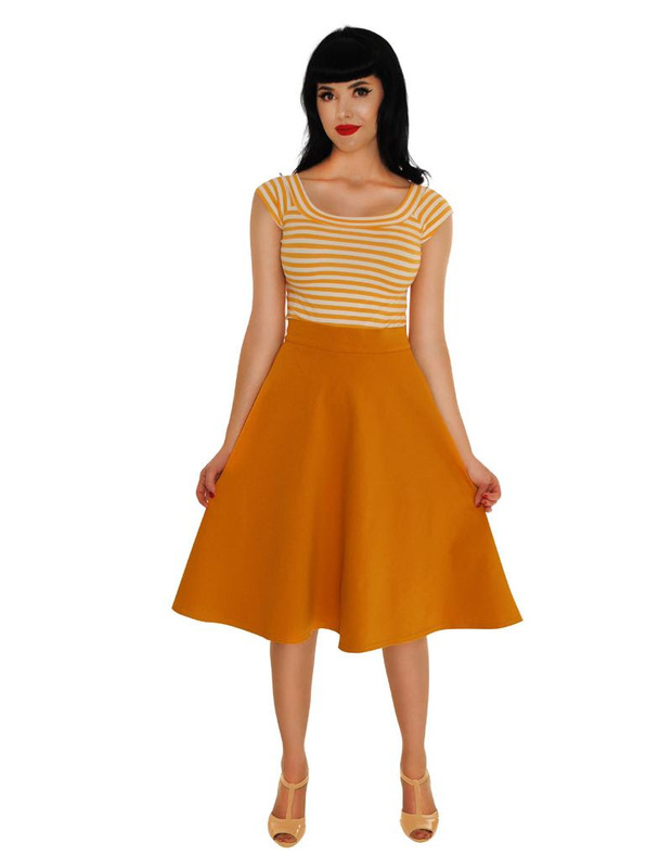 Retrolicious: Striped Boat Neck Top in Mustard - (XL)