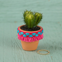 Natural Life: Succulent - Hot Pink Fringe