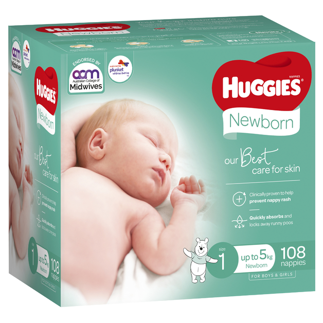 Huggies Ultimate Nappies: Jumbo Pack - Size 1 Newborn (108)