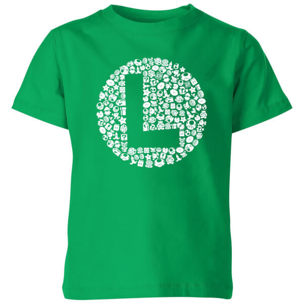 Nintendo Super Mario Luigi Items Logo Kids' T-Shirt - Kelly Green - 11-12 Years