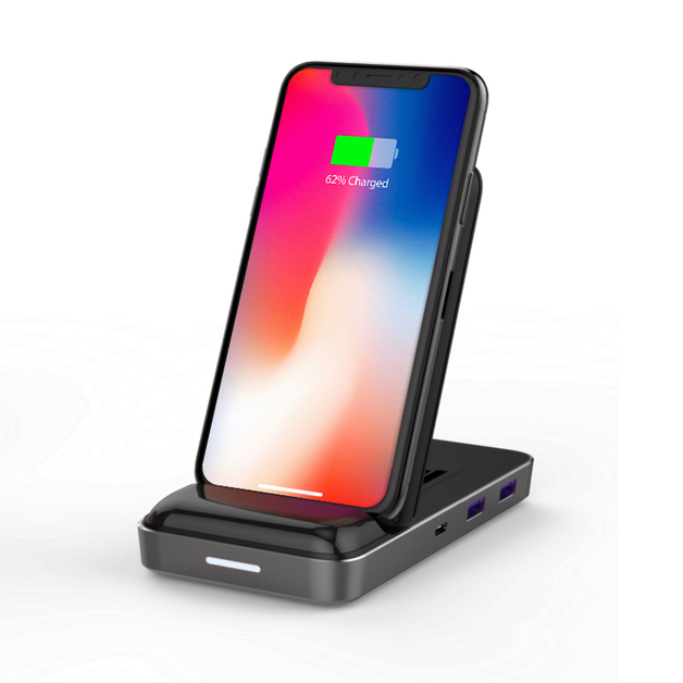 HyperDrive: USB-C Hub with 7.5W Wireless Charger - Black
