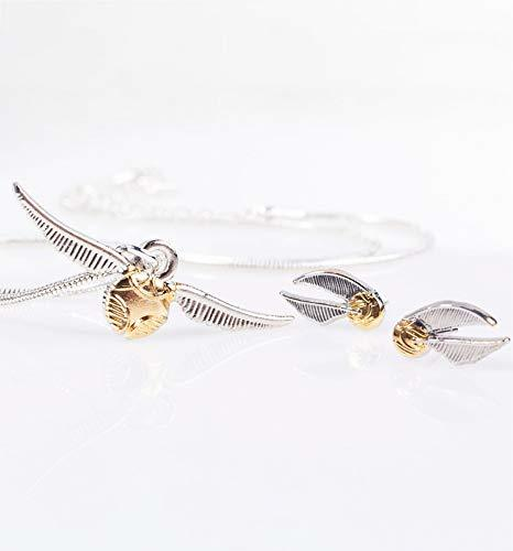 Harry Potter: Golden Snitch Necklace And Stud Earring Set - Gold