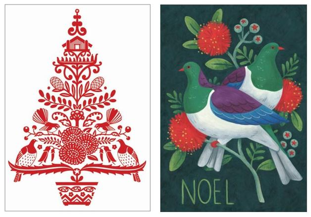 Tanya Wolfkamp: New Zealand Christmas Note Cards - Red Tree & Kereru (Pack 8)