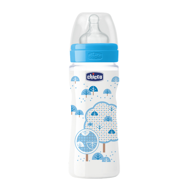 Chicco: Well-Being Silicone Bottle - 4m+ 330ml (Boy)