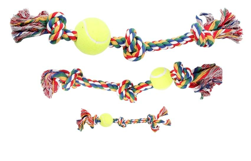 """Pawise: 8"""" Rope Bone - With 3 Knots & Tennis Ball/Multi Color image"""