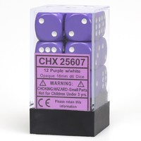 Chessex: D6 Opaque Cube Set (16mm) - Purple/White image