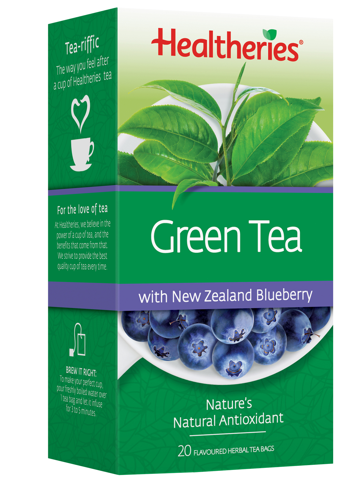 Healtheries Green Tea with NZ Blueberry (Pack of 20) image