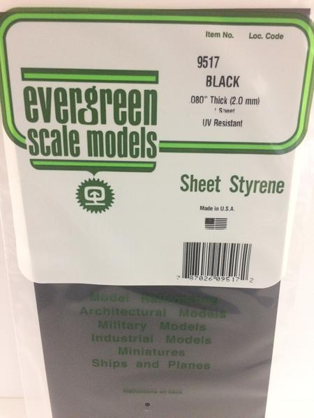 Evergreen Styrene Sheet Black 15X29cm X2.0 mm (1)